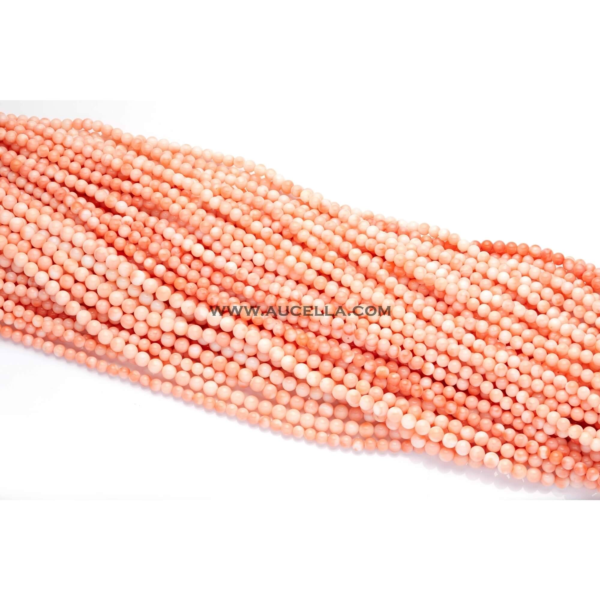 Natural pink coral beads shape size mm 3-4