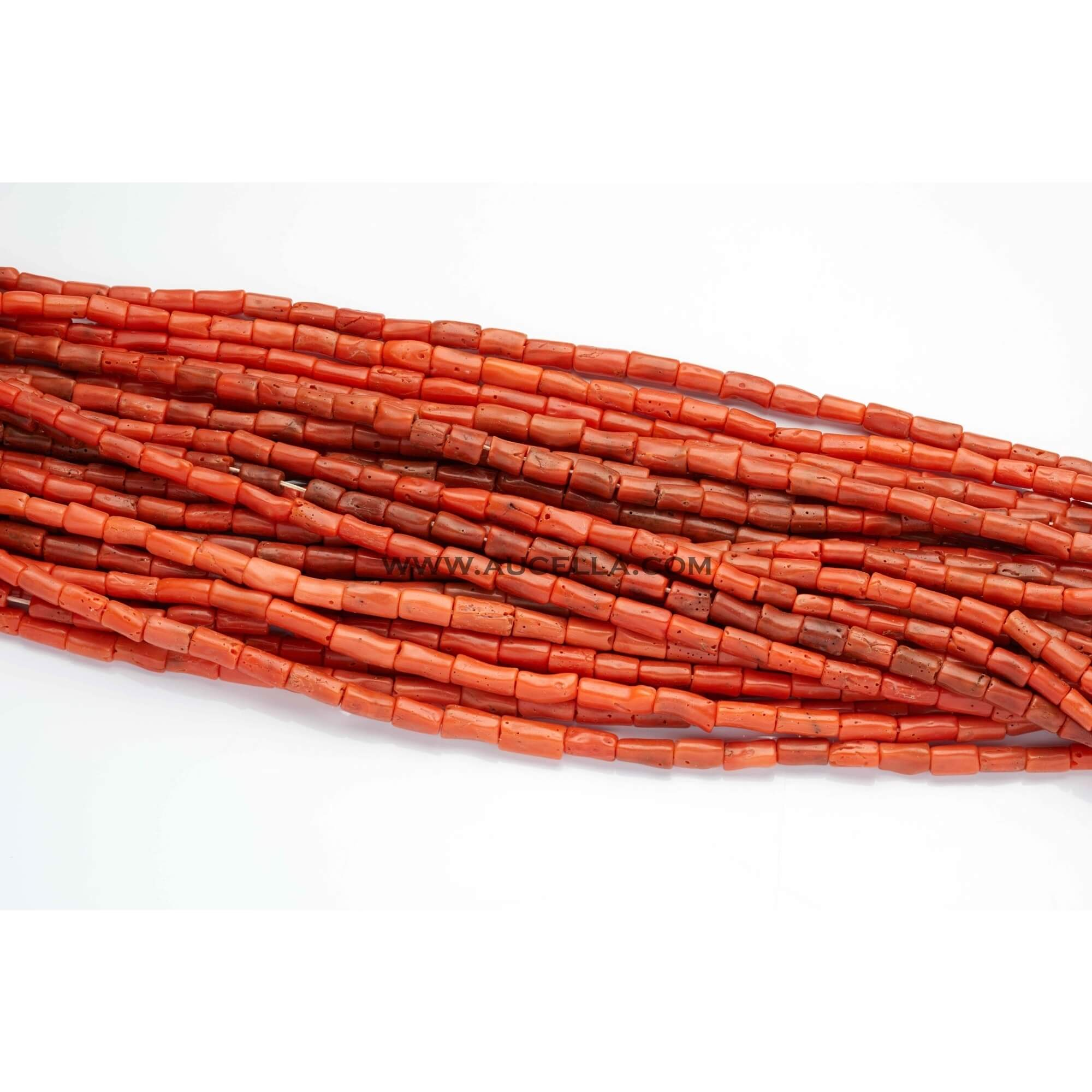 Natural red coral tube shape low quality