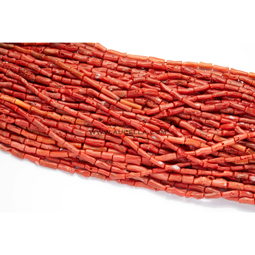 Natural red coral  tube shape low quality necklaces