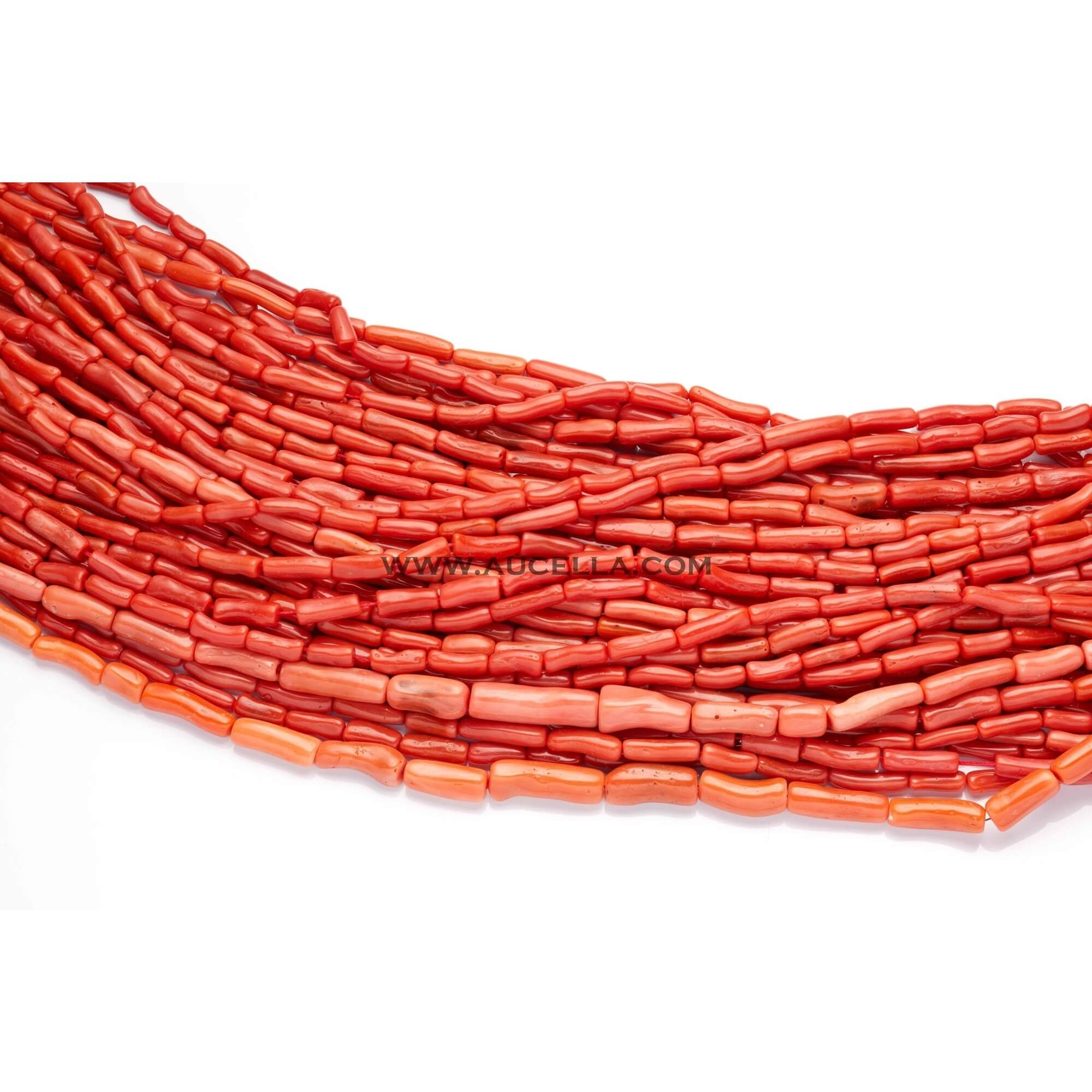 Natural red coral tube shape low quality mix size