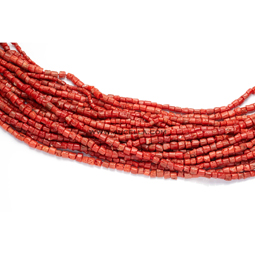 Natural red coral tube shape size small low quality