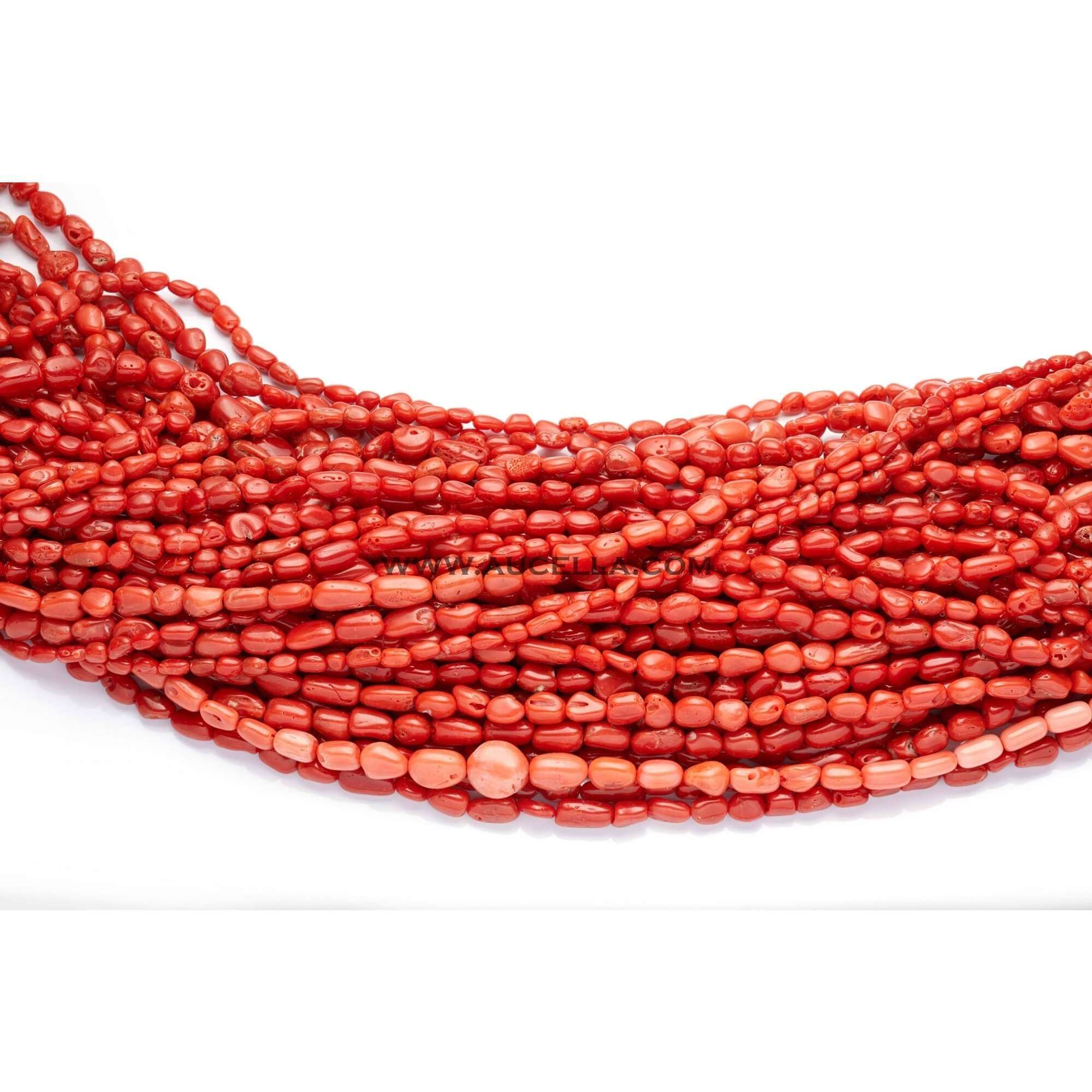 Natural red coral necklaces small size