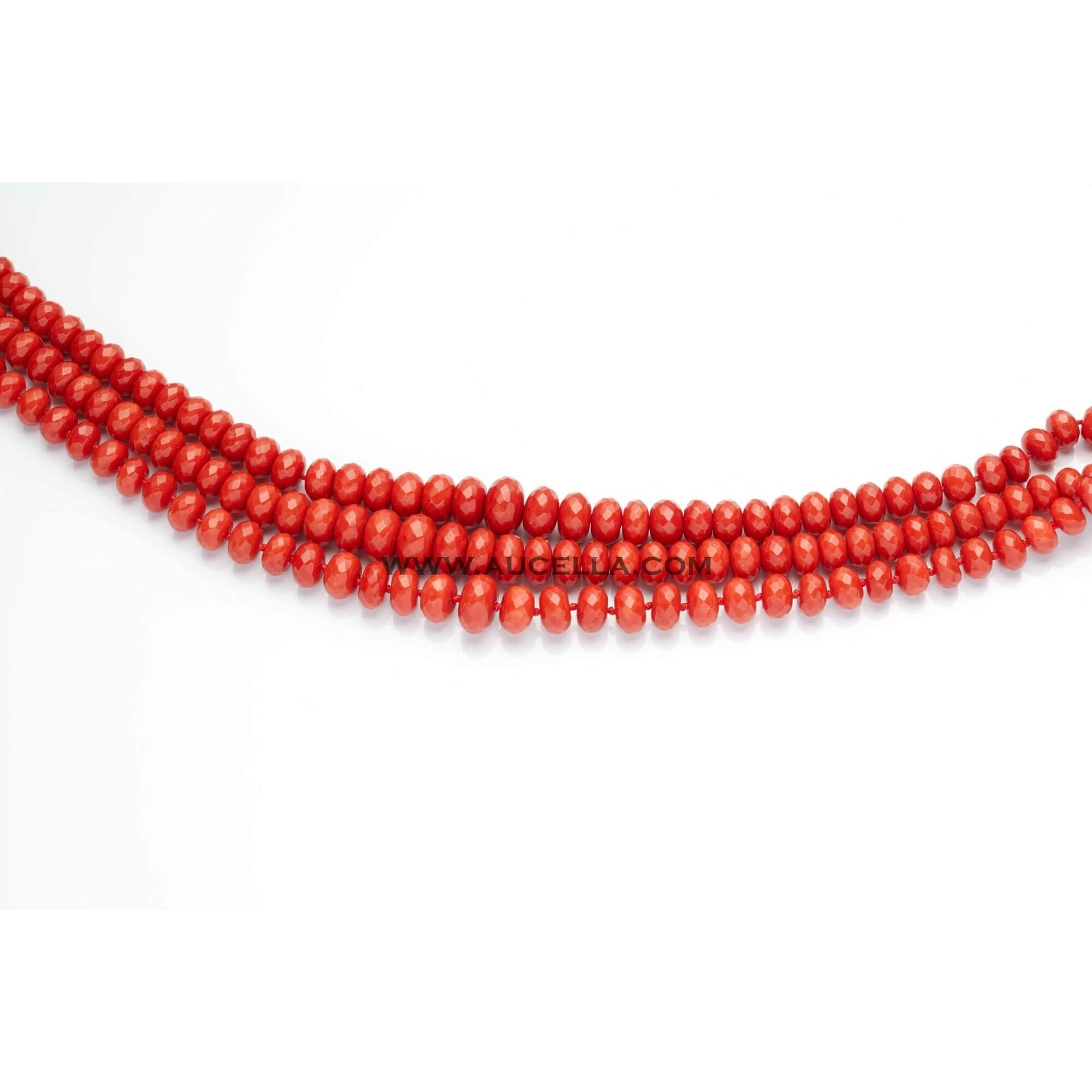 Natural red coral roundels faccetted