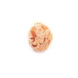 Butterfly and angel carved on natural seashell cameo