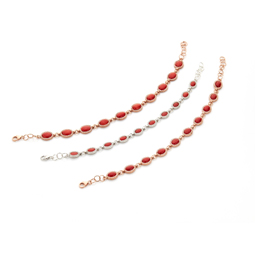 Silver Necklaces with 5x7 red coral cabochones