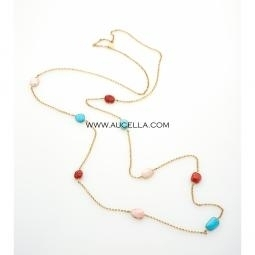 Necklace set in silver with coral and turquoise cabochon