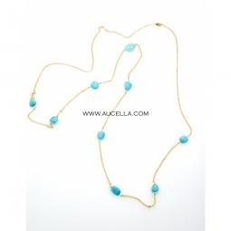 Necklace set in silver with natural turquoise