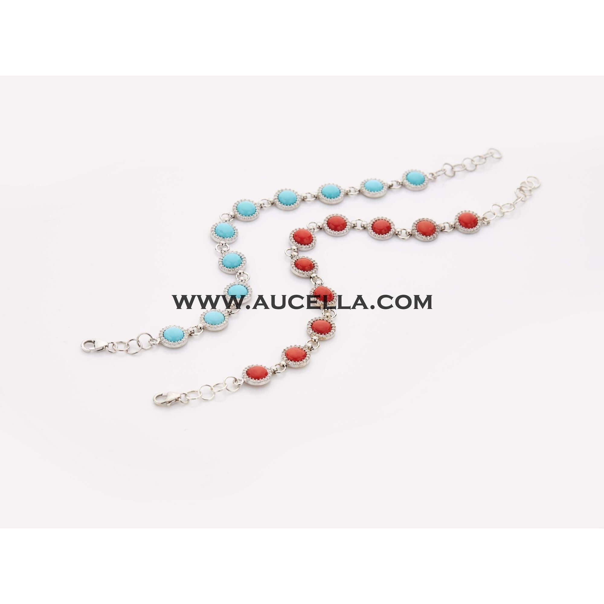 Silver bracelets with mm 6 red coral cabochones