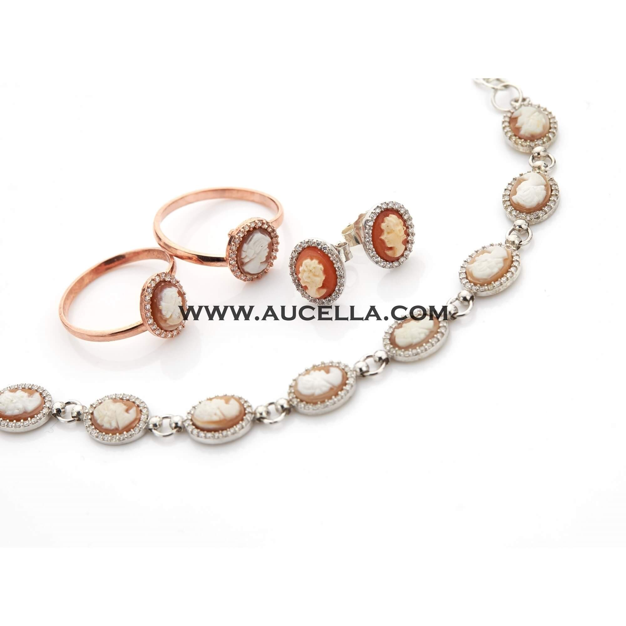 Silver bracelets with shell cameo