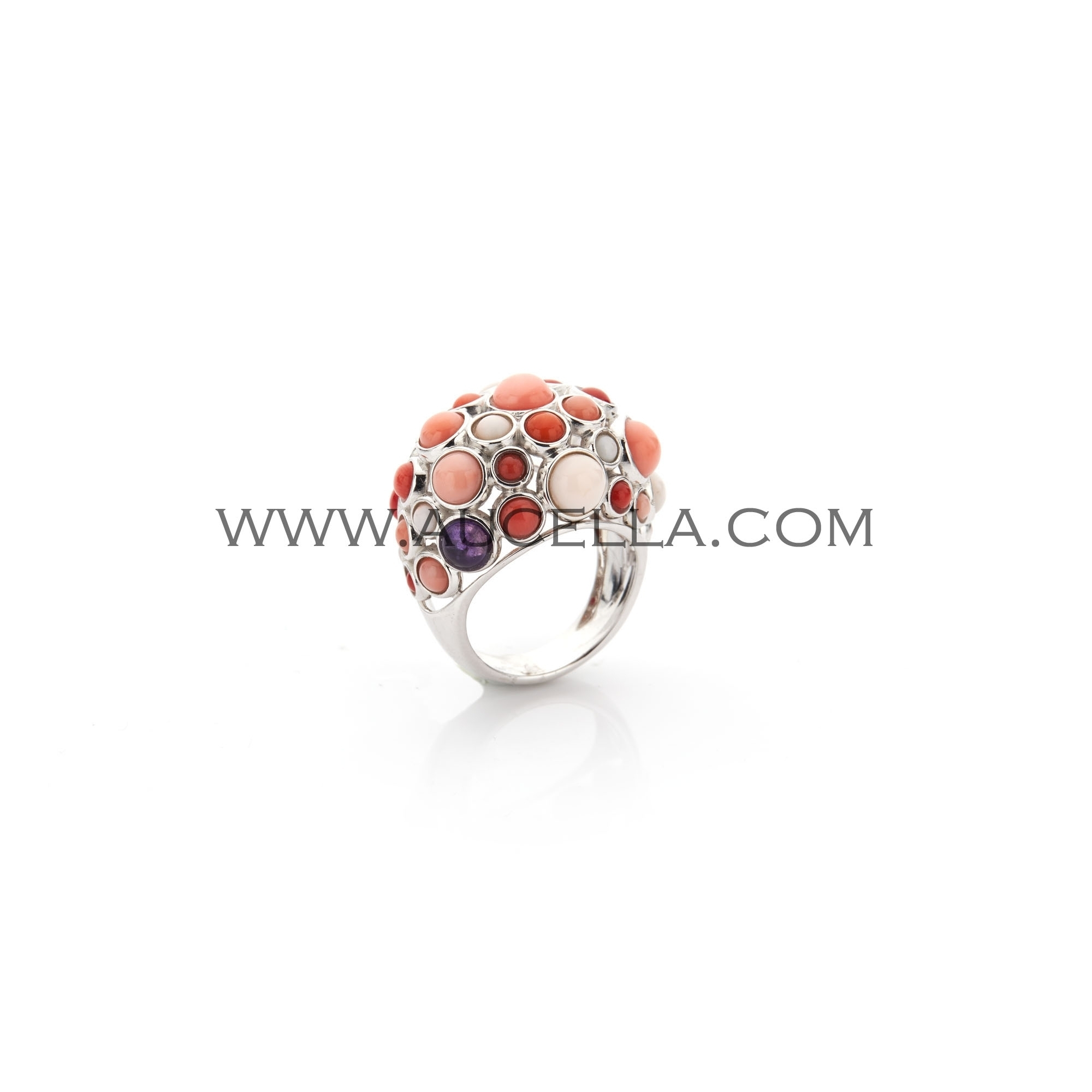 Ring model Pave with coral and silver