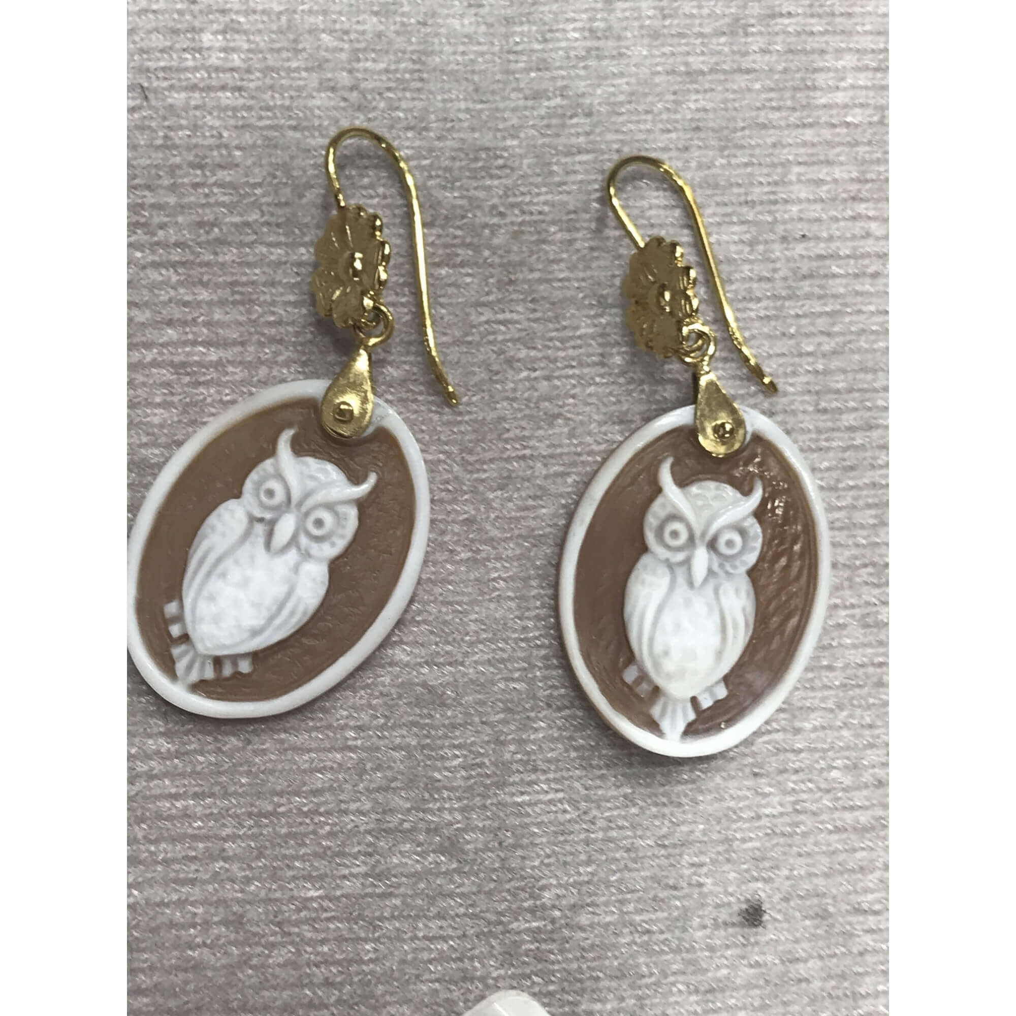 Gold Owl Cameos Earrings