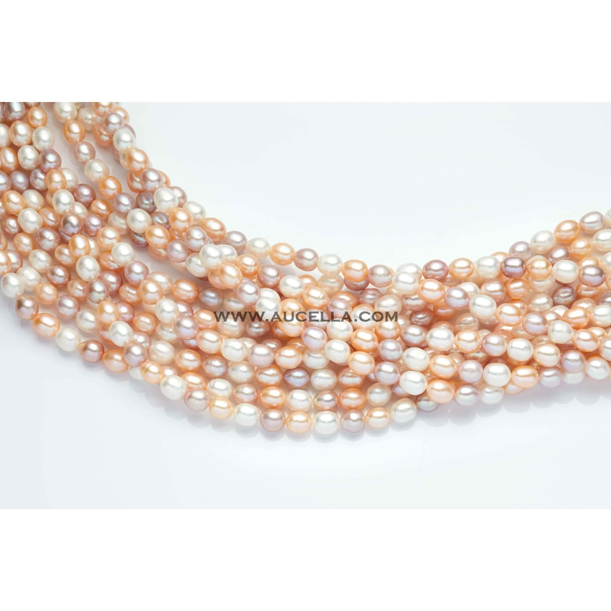 Fresh water pearls rice shape multicolor